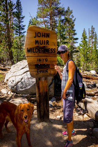 Lisa Filpi hiking with Sandy in the John Muir Wildnerness.