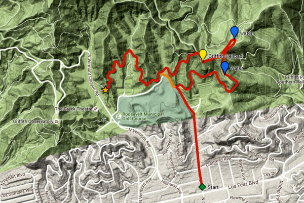 Trek 1 map: Los Feliz to The Greek